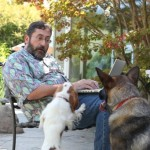 bob talking with pups